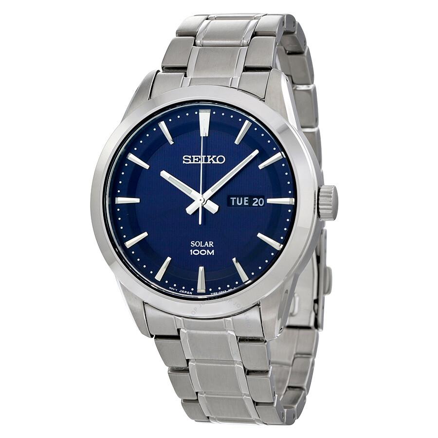 Seiko solar blue dial stainless steel men 39 s watch sne361 solar seiko watches jomashop for Seiko solar