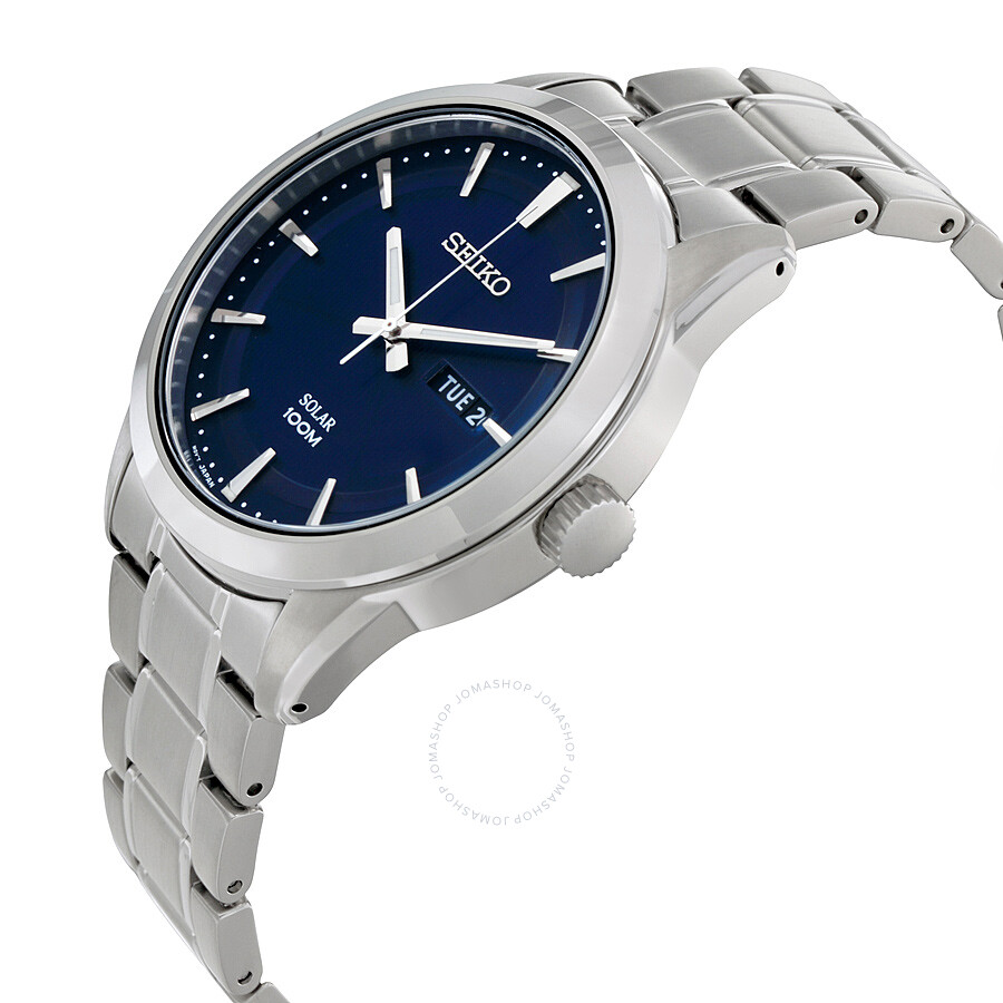 seiko solar blue dial stainless steel men 39 s watch sne361. Black Bedroom Furniture Sets. Home Design Ideas