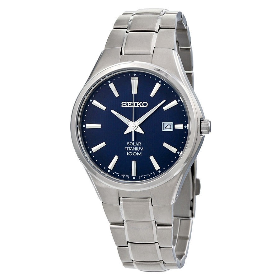 Seiko Solar Blue Dial Titanium Men S Watch Sne381 Solar Seiko