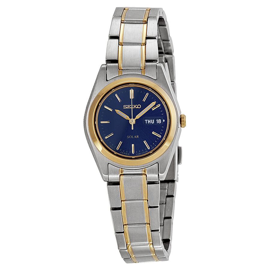 Seiko solar blue dial two tone ladies watch sut110 solar seiko watches jomashop for Seiko solar