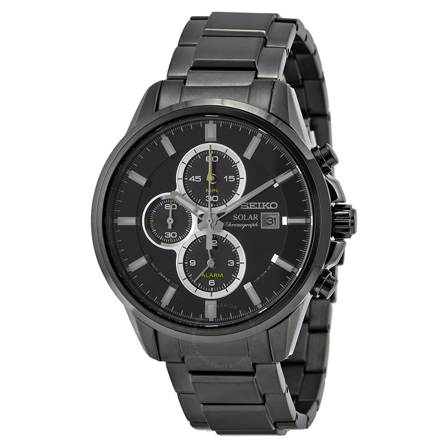 Seiko Solar Chronograph Black Dial Black Ion Plated Men S Watch Ssc257