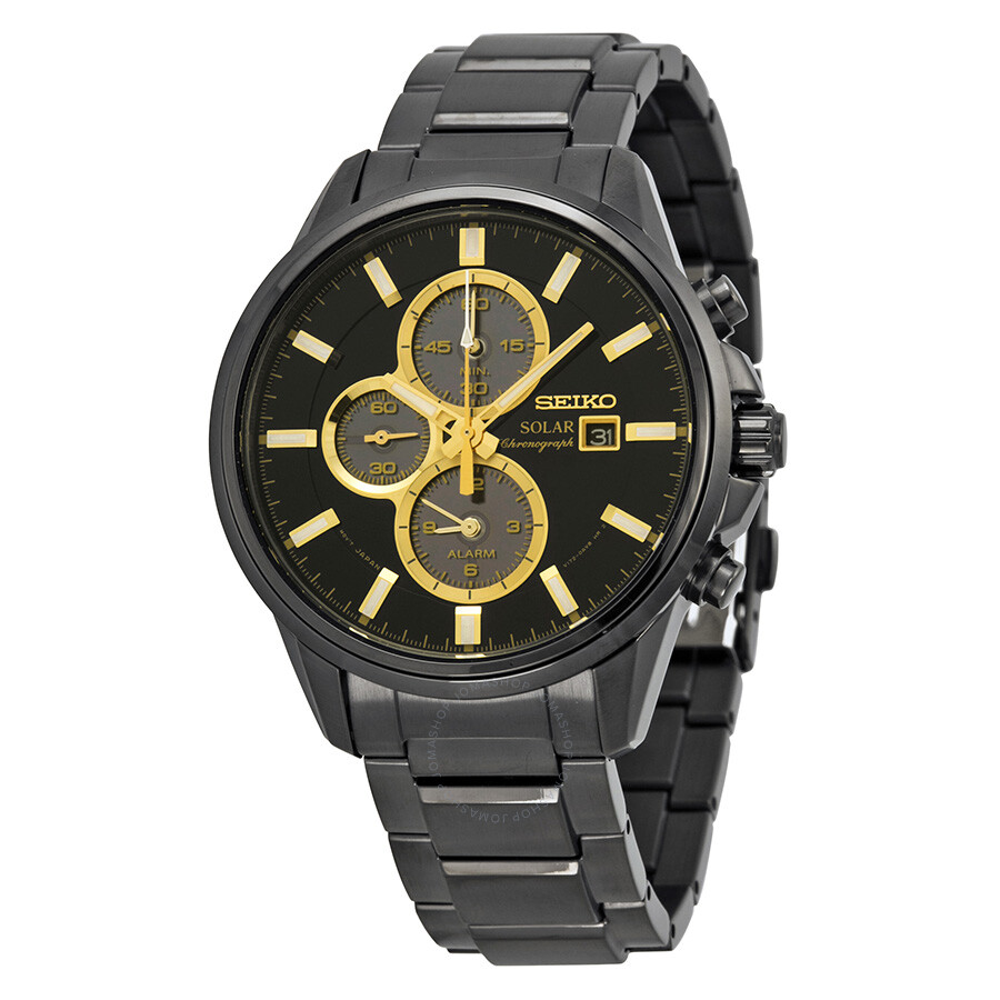 solar chronograph black dial black ion plated mens watch. Black Bedroom Furniture Sets. Home Design Ideas