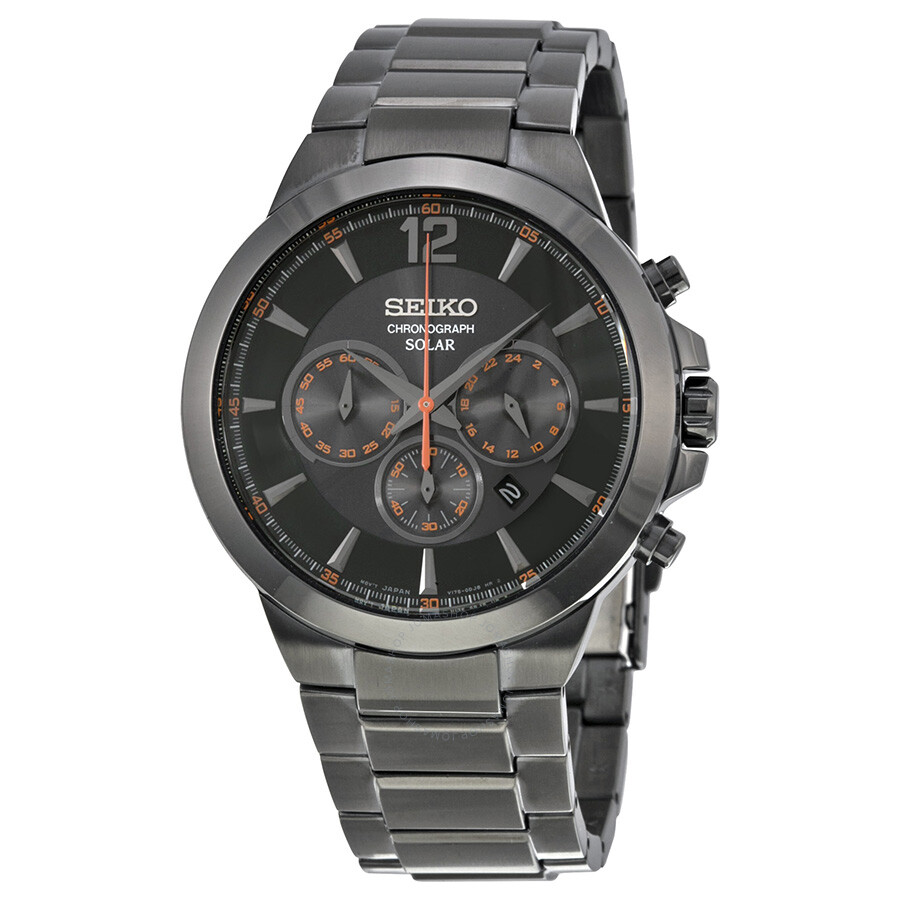 Seiko solar chronograph black dial black ion plated stainless steel men 39 s watch ssc323 solar for Solar watches