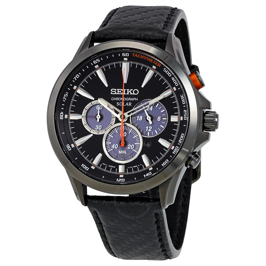 Seiko solar chronograph black dial black leather men 39 s watch ssc499 solar chronograph seiko for Seiko solar