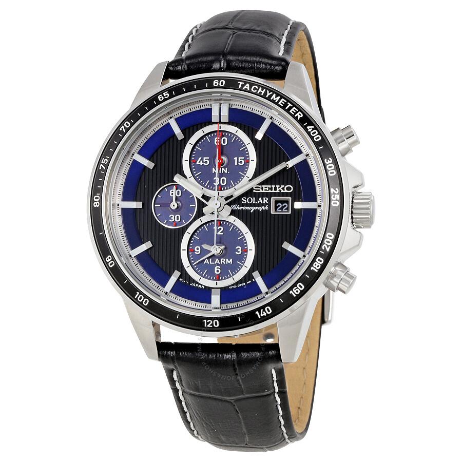 Seiko solar chronograph black dial men 39 s watch ssc437p1 solar chronograph seiko watches for Seiko solar