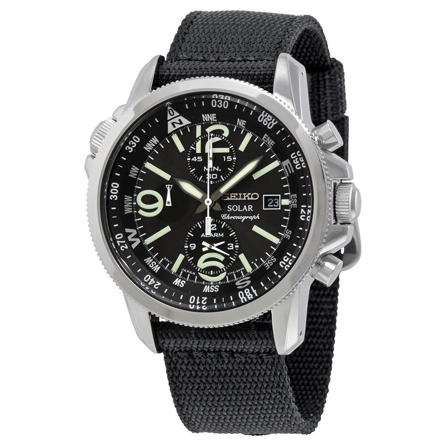 Seiko Solar Chronograph Black Dial Stainless Steel Black Nylon Men S Watch Ssc135 Solar