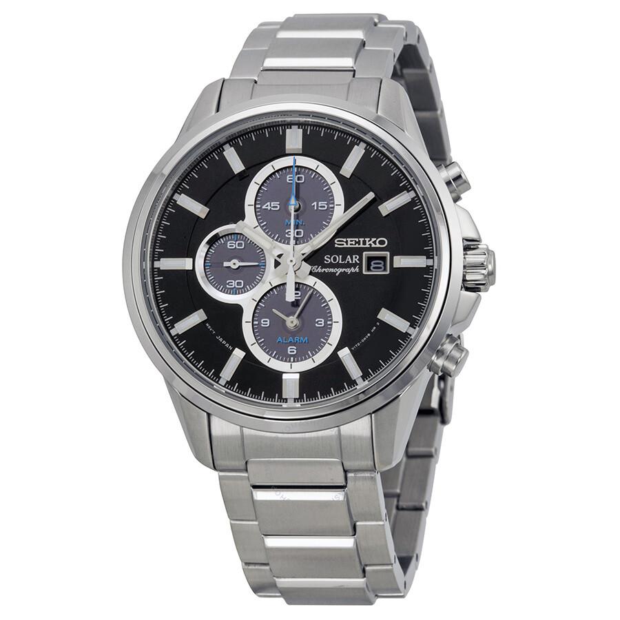 Seiko solar chronograph black dial stainless steel men 39 s watch ssc267 solar chronograph for Seiko solar