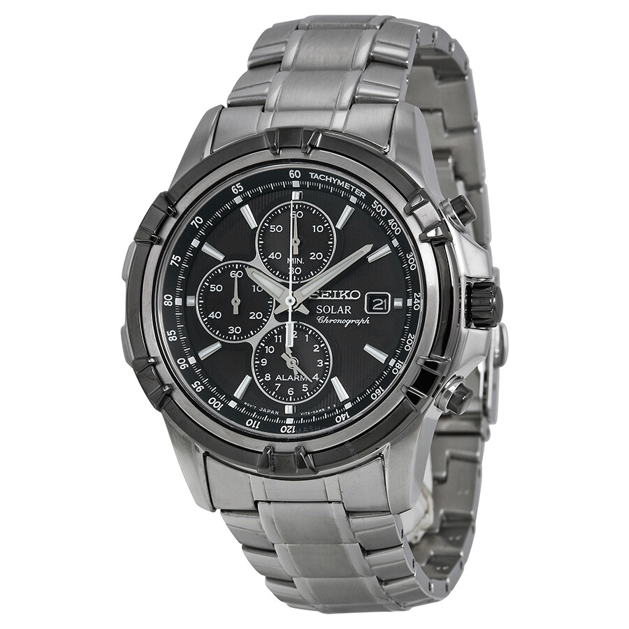 Seiko Solar Chronograph Black Dial Stainless Steel Men S Watch