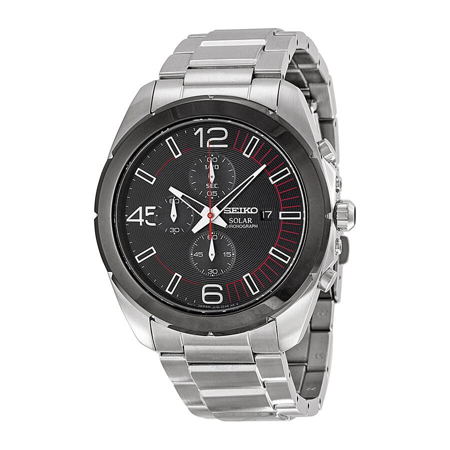 Seiko solar chronograph black dial stainless steel men 39 s watch ssc215 solar chronograph for Seiko solar