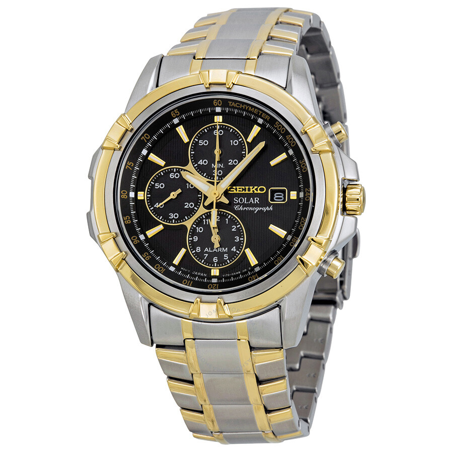 seiko solar chronograph black dial two tone men 39 s watch. Black Bedroom Furniture Sets. Home Design Ideas