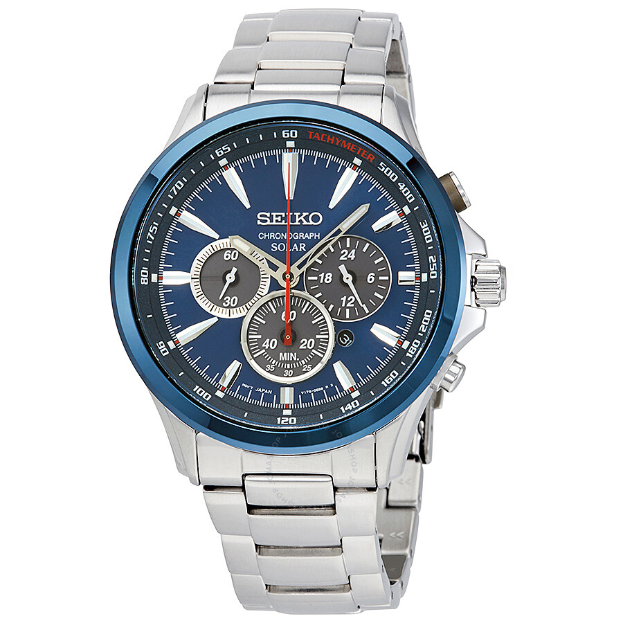 Seiko solar chronograph blue dial men 39 s watch ssc495 solar chronograph seiko watches for Seiko solar
