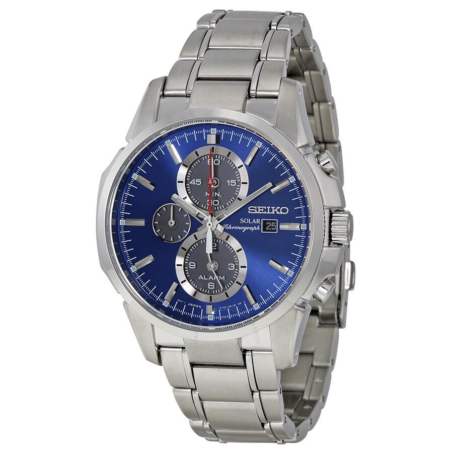 Seiko solar chronograph blue dial stainless steel men 39 s watch ssc085 solar chronograph seiko for Seiko solar