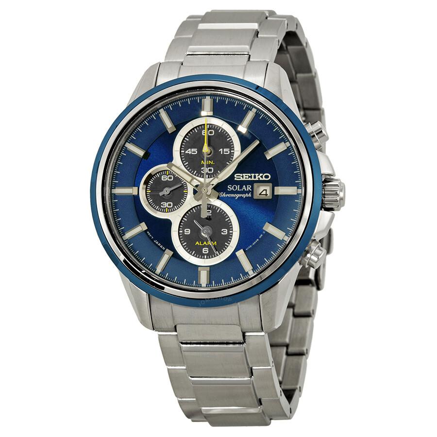 Seiko solar chronograph blue dial stainless steel men 39 s watch ssc253 solar chronograph seiko for Seiko solar