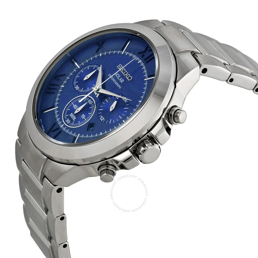 Blue Dial Chronograph Watches Online Deals Seiko Solar Stainless Steel Mens Watch Ssc221 Silver Aviation From