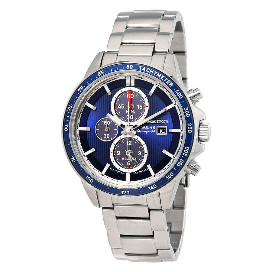 Seiko solar chronograph blue dial stainless steel men 39 s watch ssc431p1 solar chronograph for Solar watches