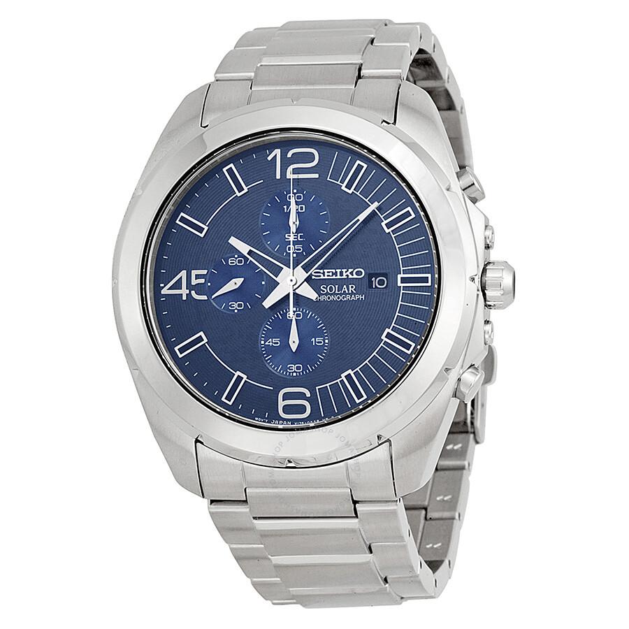 Seiko solar chronograph blue dial stainless steel men 39 s watch ssc201 solar chronograph seiko for Seiko solar
