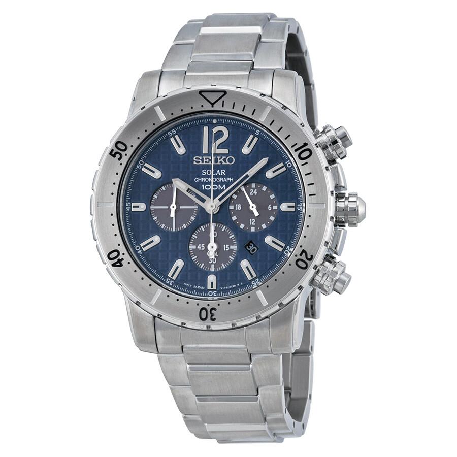 Seiko solar chronograph blue dial stainless steel men 39 s watch ssc221 solar chronograph seiko for Seiko solar