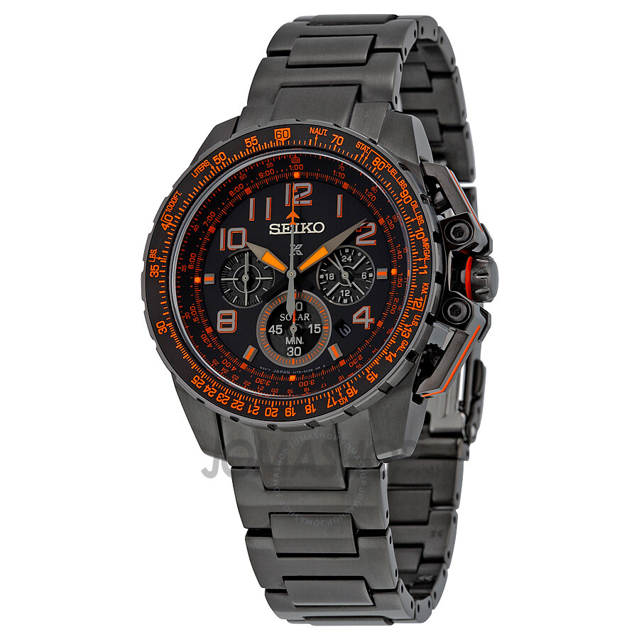 Seiko solar chronograph flight computer black dial black plated men 39 s watch ssc277 solar for Solar watches