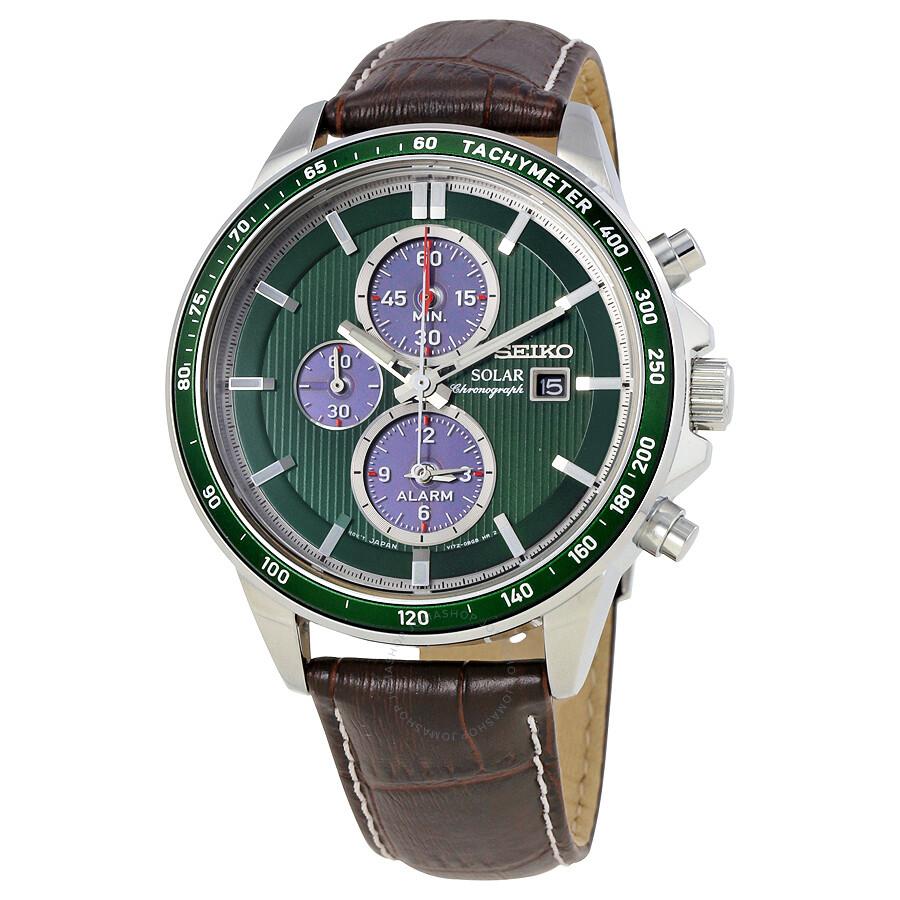 Seiko solar chronograph green dial men 39 s watch ssc501 solar chronograph seiko watches for Seiko solar
