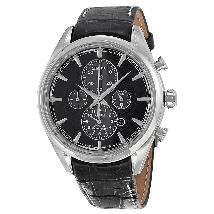 seiko solar chronograph grey black leather s