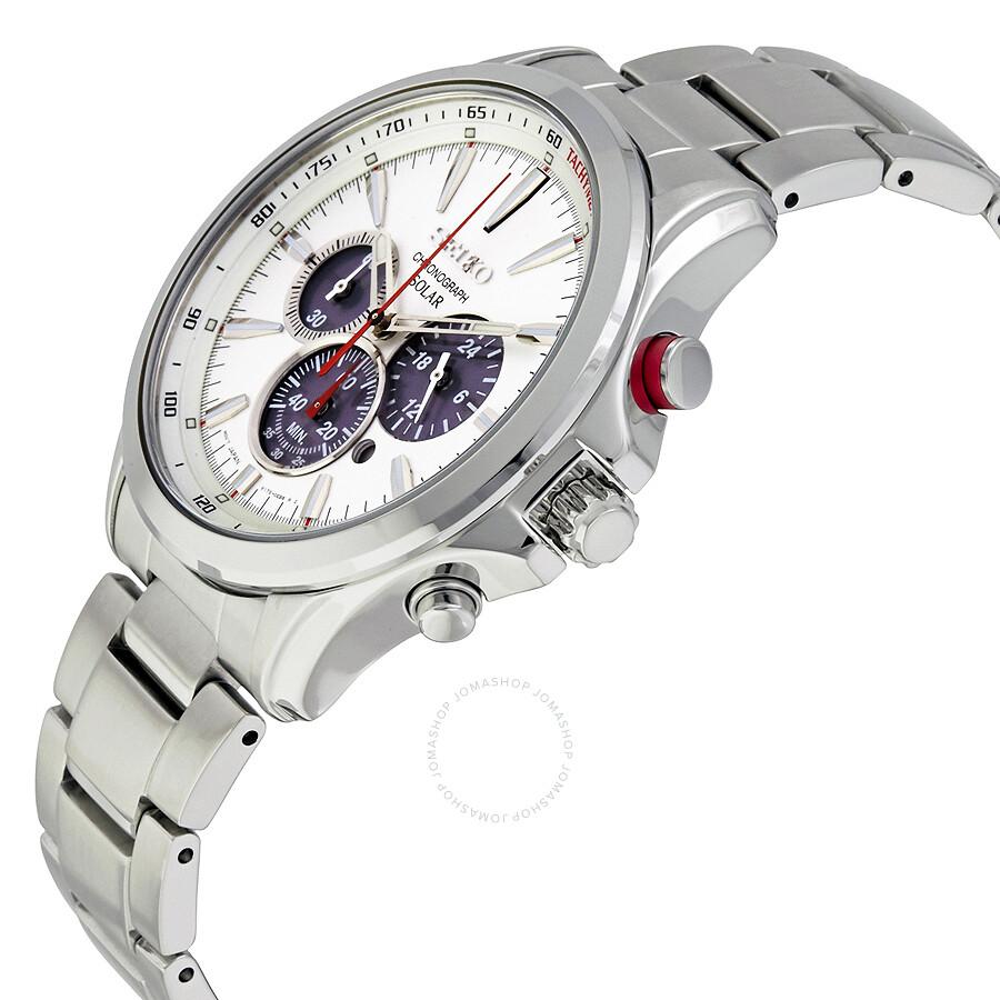 Seiko solar chronograph silver dial stainless steel men 39 s watch ssc491 solar chronograph for Seiko solar