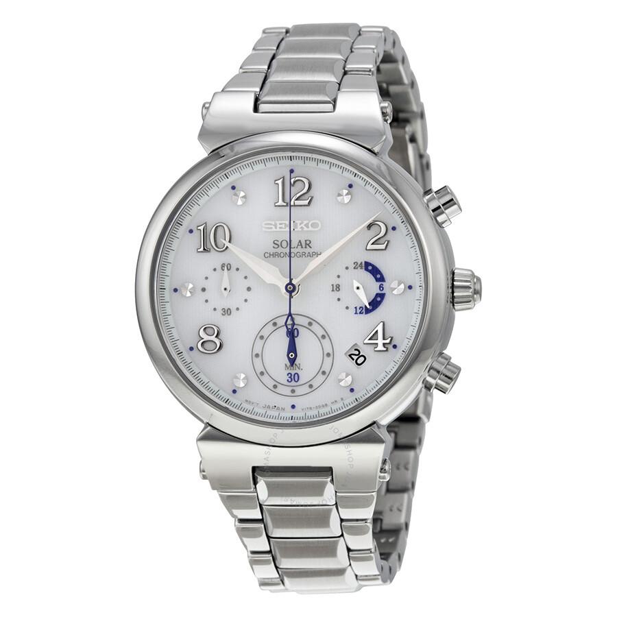 488e10a868d Seiko Solar Chronograph White Dial Stainless Steel Ladies Watch SSC863 ...