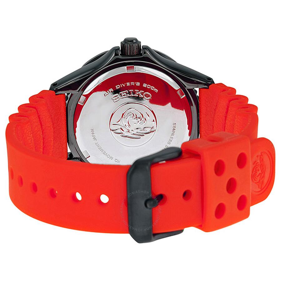 Seiko Solar Divers Black Dial Orange Rubber Men S Watch Sne245