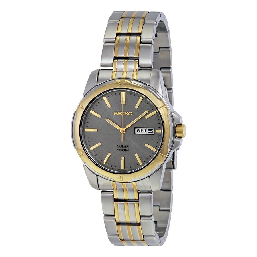 Seiko solar gray dial two tone men 39 s watch sne098 solar seiko watches jomashop for Seiko solar