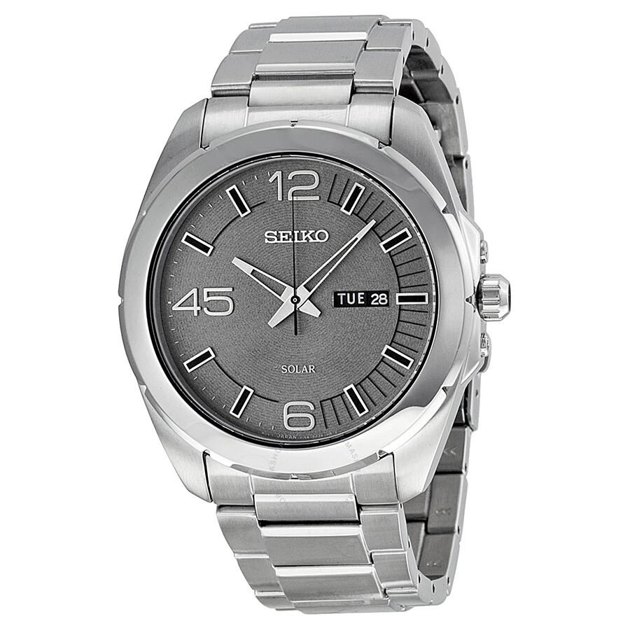 Seiko solar grey dial stainless steel men 39 s watch sne273 solar seiko watches jomashop for Seiko solar