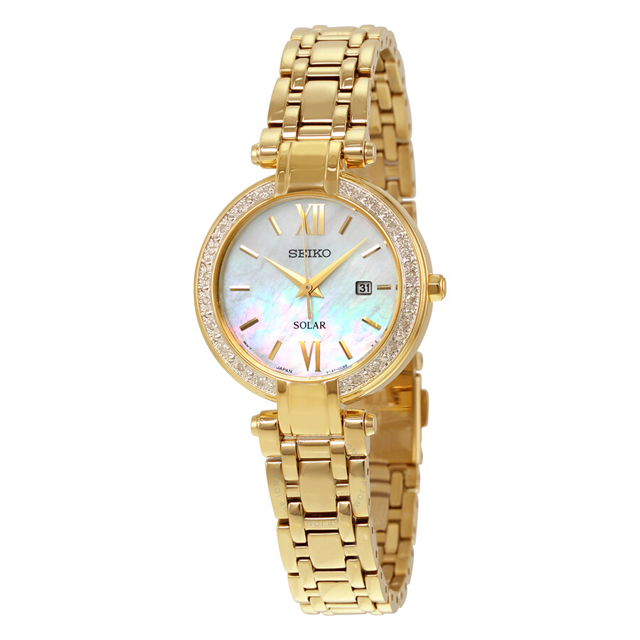 Seiko solar mother of pearl dial gold tone ladies watch sut182 solar seiko watches jomashop for Mother of pearl dial watch
