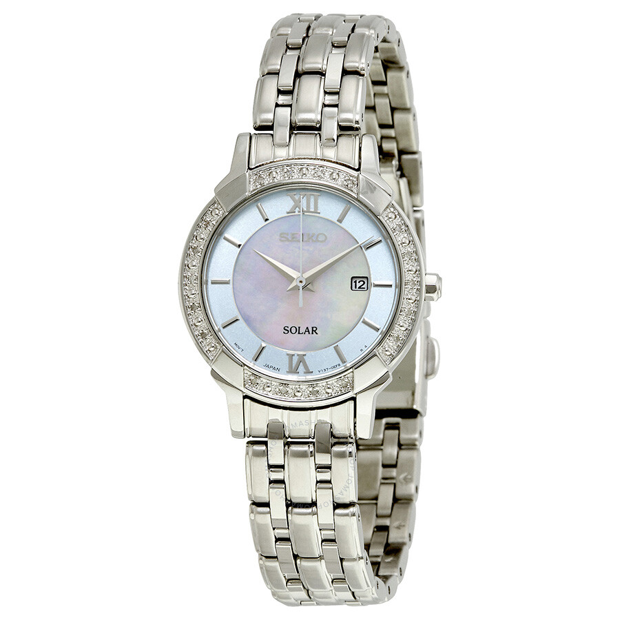 Seiko solar mother of pearl dial ladies watch sut277 solar seiko watches jomashop for Solar watches