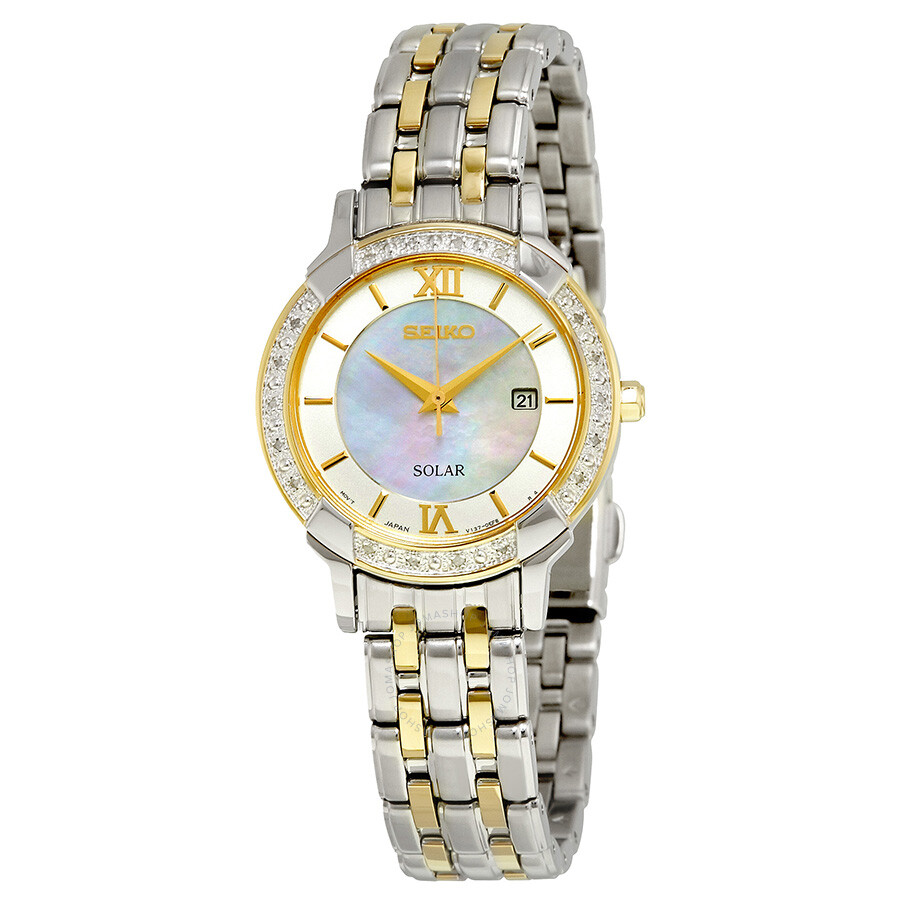 Seiko solar mother of pearl dial ladies watch sut278 solar seiko watches jomashop for Mother of pearl dial watch