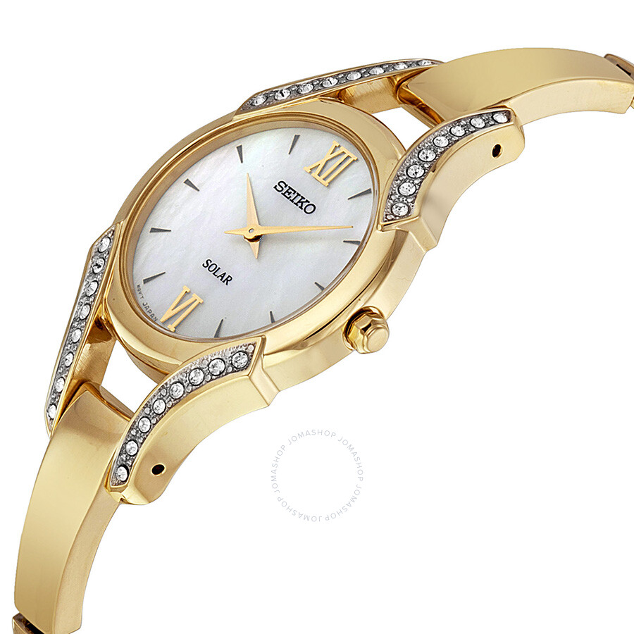 Seiko Solar Mother of Pearl Gold-tone Ladies Watch SUP216 ...
