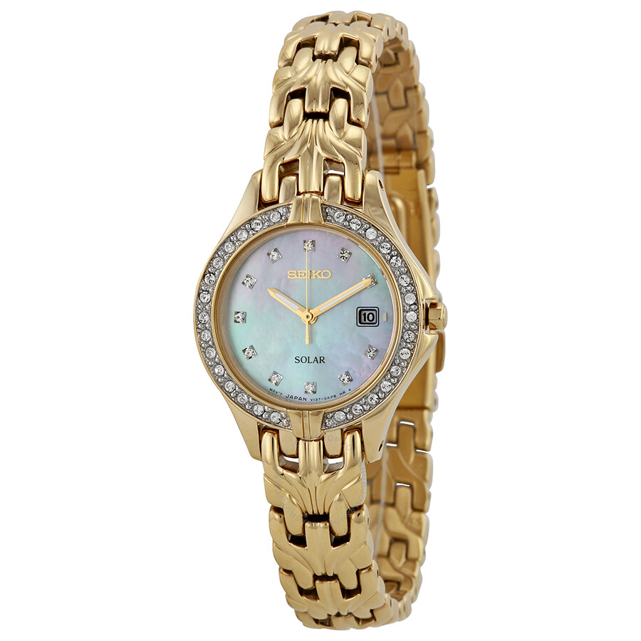Seiko solar mother of pearl swarovski crystal bezel gold tone ladies watch sut086 solar for Crystal ladies watch