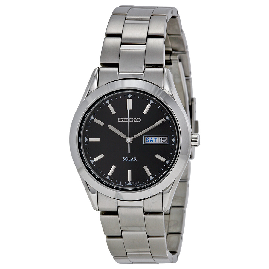Seiko Solar Quartz Black Dial Men S Watch Sne039