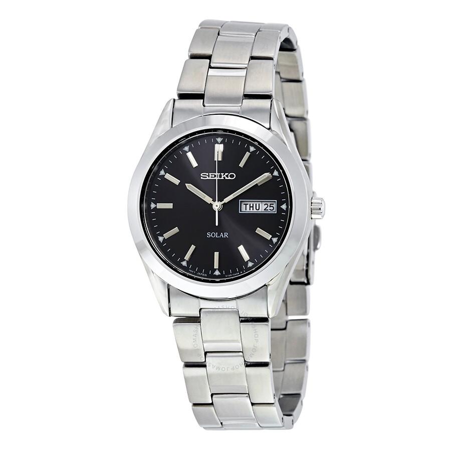 Seiko solar quartz black dial men 39 s watch sne039 solar seiko shop watches by brand jomashop for Seiko solar