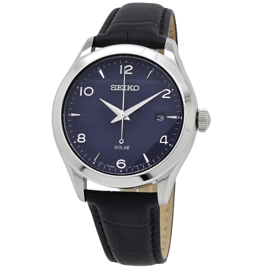 Seiko Solar Quartz Blue Dial Black Leather Men S Watch Sne491