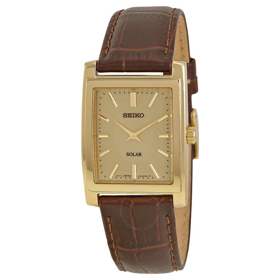 Leather Gmbh Contact Us Email Sales Mail: Seiko Solar Quartz Champagne Dial Brown Leather Men's