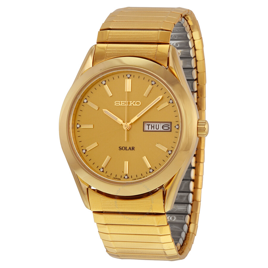 seiko solar quartz gold tone expansion band s