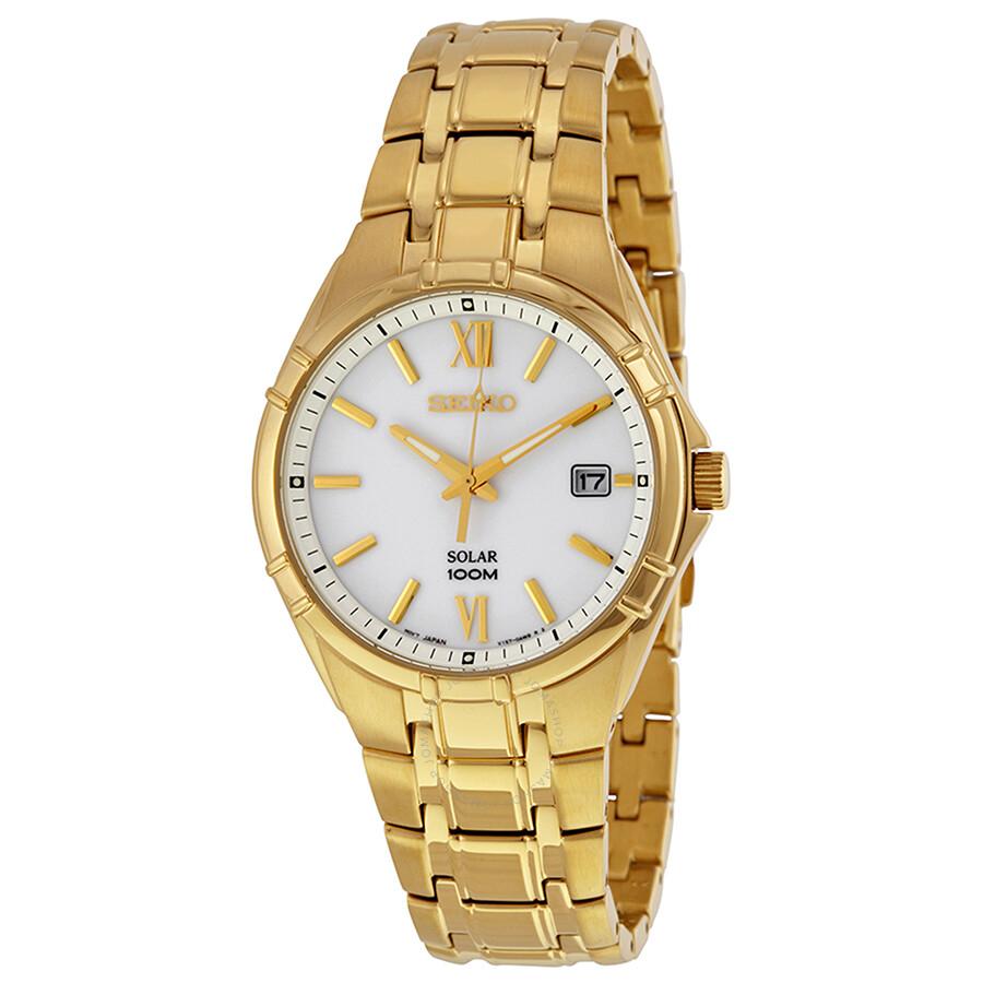 Seiko solar quartz white dial men 39 s watch sne218 solar seiko watches jomashop for Seiko solar