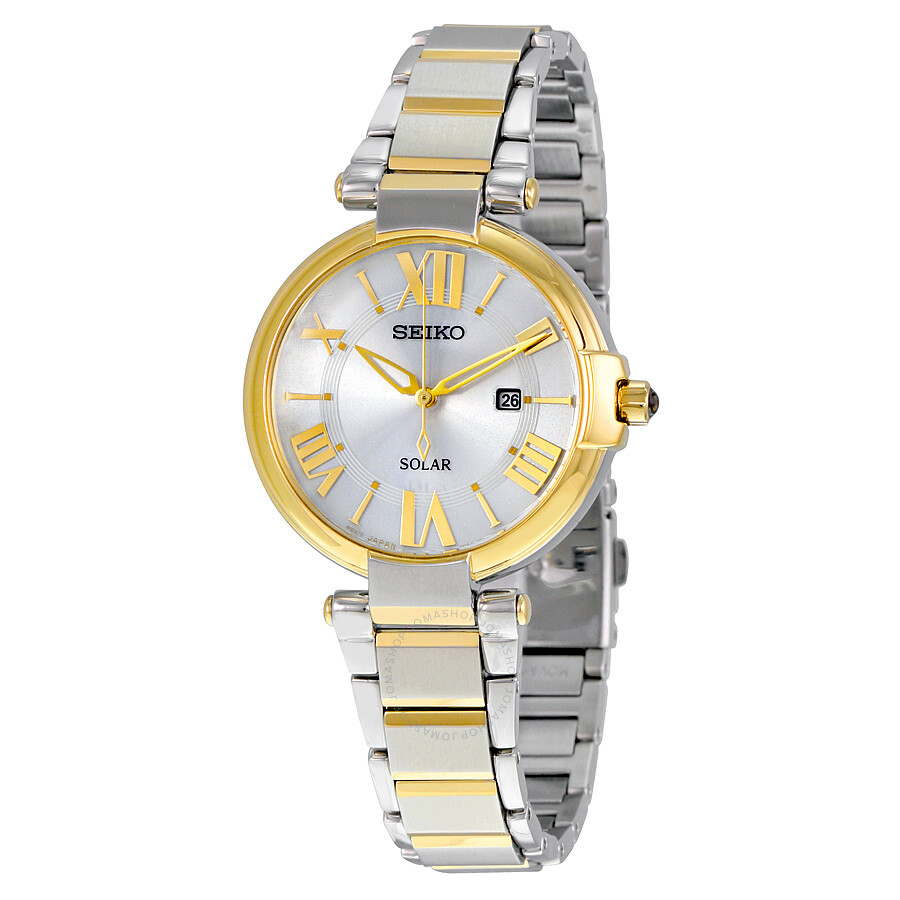 Seiko Solar Silver Dial Two-tone Ladies Watch SUT174 - Solar - Seiko ... 349e2a8b35