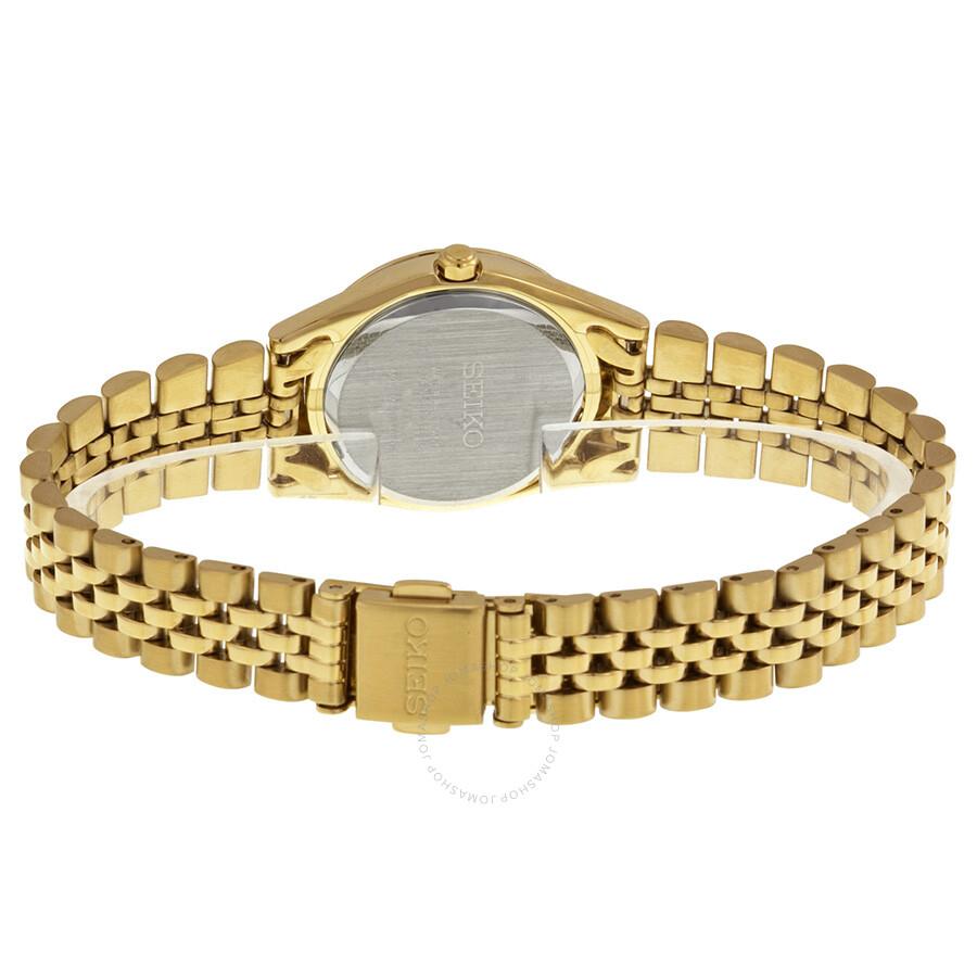 Seiko Solar Swarovski Crystal Gold Tone Ladies Watch