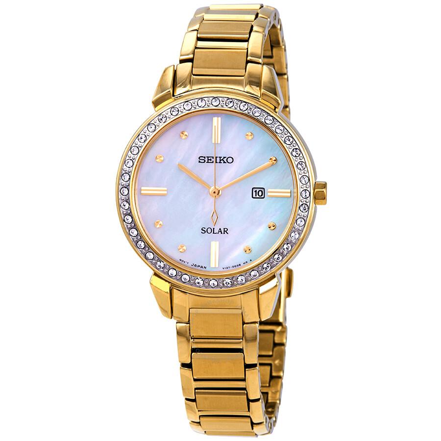 Seiko Solar Swarovski Crystal Mother Of Pearl Ladies Watch