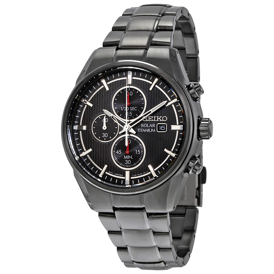 Seiko solar titanium black chronograph dial black titanium men 39 s watch ssc393 solar for Titanium watches