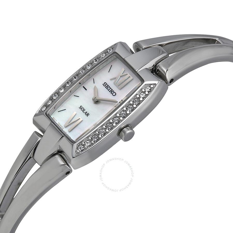 Seiko Solar Tressia Swarovski Crystal Stainless Steel