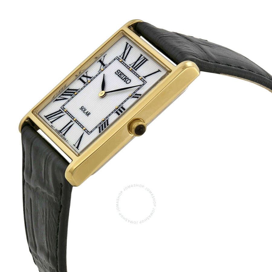 Leather Gmbh Contact Us Email Sales Mail: Seiko Solar White Dial Black Leather Men's Watch SUP880