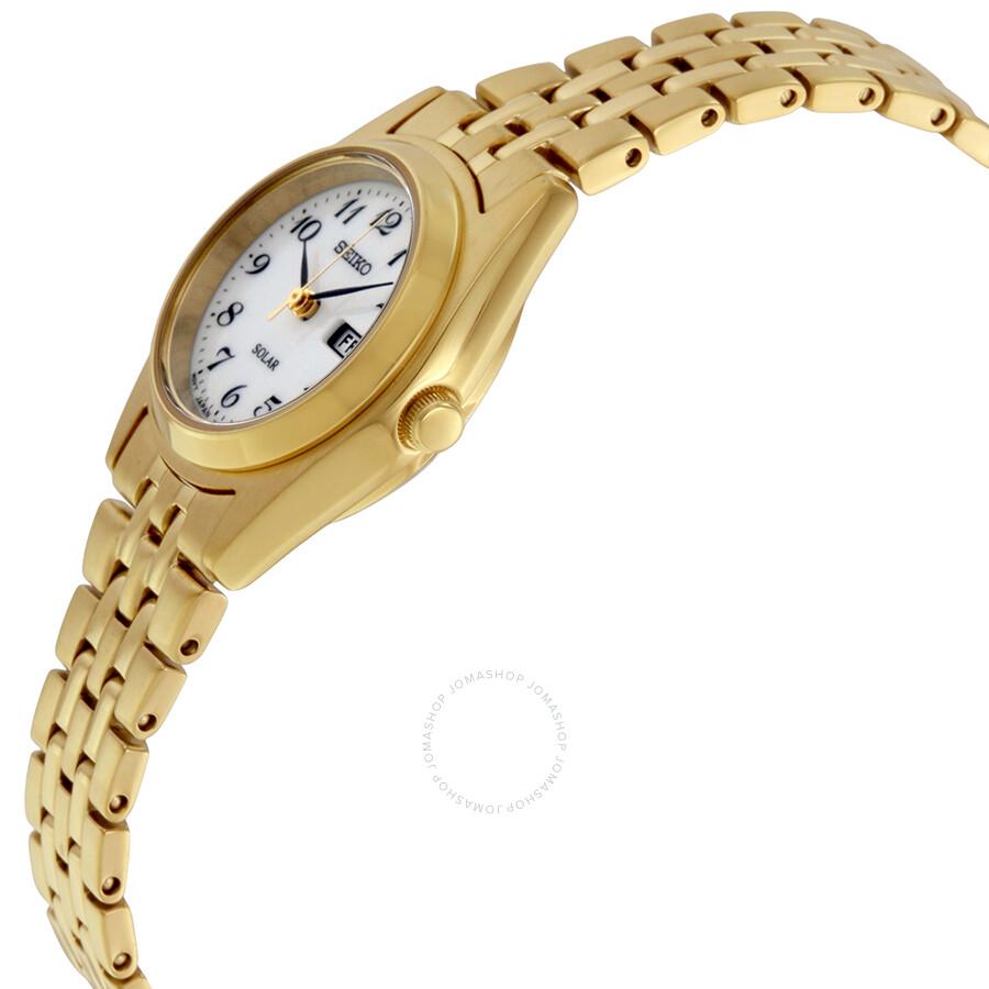Seiko solar white dial gold tone ladies watch sut118 solar seiko watches jomashop for Gold dial ladies watch