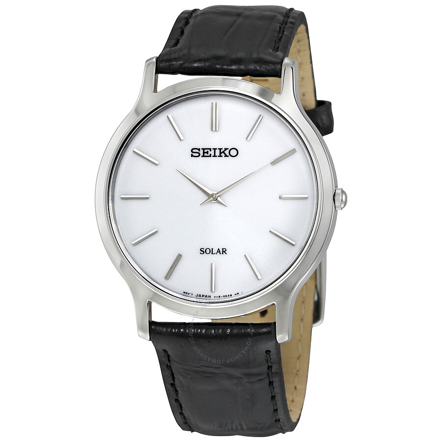 Seiko Solar White Dial Black Leather Men S Watch Sup873 Solar