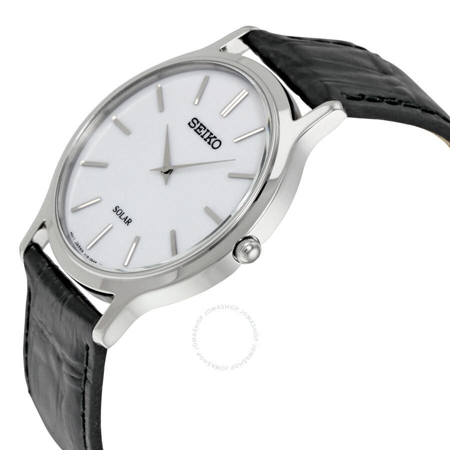 d7bd601d0 Seiko Solar White Dial Black Leather Men's Watch SUP873 - Solar ...