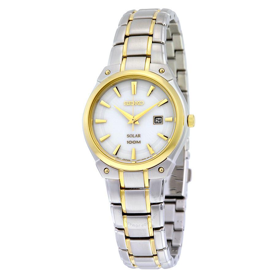 f9129bbf649 Seiko Solar White Dial Yellow Gold-tone Ladies Watch SUT128 - Solar ...